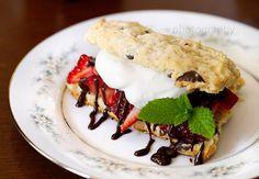 Choc chip strawberry shortcake w/ bourbon choc sauce (NOTE: THIS BLOG HAS AWESOME BAKING RECIPES!)