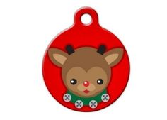 Cute Reindeer Christmas Holiday Engraved Pet ID Tag by BlackDogEngraving on Etsy