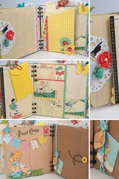 Vintage premade scrapbook mini album for girls door KBandFriends Mini Album Scrapbook, Mini Albums Scrap, Scrapbook Cards, Ring Der O, Buch Design, Album Book, Project Life, Smash Book, Altered Art