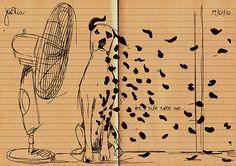 Dalmata Illustration by Juliana Alia [ design dalmatian dog wind black old paper lines ]