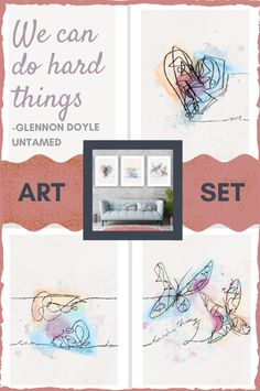 """Brutiful"" art set from author Glennon Doyle's Untamed best-selling book. Art set and quote to help with grief, empowerment, loss, break up, and all the hard things in life we must do, and can do. ""We can do hard things"". Glennon Doyle quote, Glennon Doyle Untamed, Untamed quote, inspirational quote, inspirational art, inspirational art set, butterfly art, heart art, line art, wall art, art print  #getuntamed #untamed #glennondoyle #inspirationalquotes #wecandohardthings"