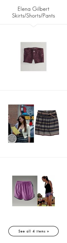 """""""Elena Gilbert Skirts/Shorts/Pants"""" by taught-to-fly19 ❤ liked on Polyvore featuring shorts, red shorts, american eagle outfitters shorts, short shorts, midi shorts, colored denim shorts, skirts, nina dobrev, blue stripe skirt and blue skirt"""
