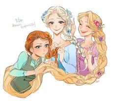 Elsa, Anna et leur cousine Raiponce
