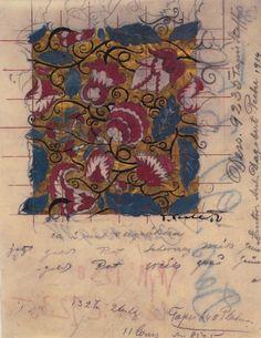 Dagobert Peche, design for tapestry fabric for Johann Backhausen & Söhne, 1912