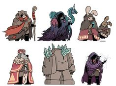I forgot to post these fantasy pals from my twitter! here we have a wanderer, a sea witch and her eels, a puppet master, the king, a rock golem and a storm mage. The rock golem is the first of a bunch of monsters/nasties (fantasy foes?) that i'm...