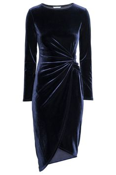 Draped dress Draped dress: Long-sleeved dress in soft fabric with a knot detail at the waist and asymmetric wrapover skirt. Drape Gowns, Draped Dress, Dress Up, Dress Long, Knot Dress, Dress Casual, New Years Eve Dresses, Evening Dresses, Formal Dresses
