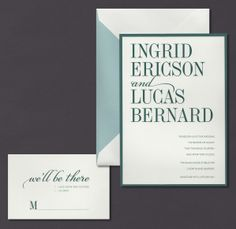 Our Teal Layered invitation suite is shown here thermograph printed in teal ink.