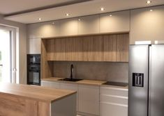 40 Elegant Two Tone Kitchen Cabinet Kitchen Room Design, Home Room Design, Kitchen Cabinet Design, Modern Kitchen Design, Dining Room Design, Home Decor Kitchen, Kitchen Interior, Home Kitchens, Built In Kitchen Bins