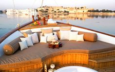 Taj Lake Palace Hotel - The Deck - Jiva Spa Boat, Udaipur, India The Places Youll Go, Places To Go, Yachting Club, Reason To Breathe, Boat Interior, Interior Ideas, Hotel Spa, Hotel Suites, Honeymoon Destinations