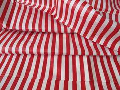 7 yards Vintage Red White Stripe Chintz Printed Cotton Fabric Glazed 36 inch Wide