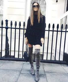 Beautiful blogger Filippa Hagg wearing our Elisa silk dress with ruffles and long sleeves. MAYLA.