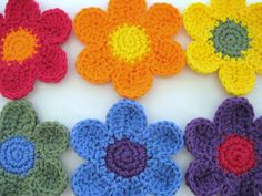 Crocheted Flower Coaster Set of 6-Daisy Rainbow    Get ready for Spring! These crocheted Daisy coasters are so sweet and colorful! They will really