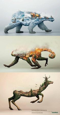 This incredibly striking nature conservation awareness poster : interestingasfuck Art Plastique, Photomontage, Double Exposure, Oeuvre D'art, Amazing Art, Art Paintings, Art Drawings, People Drawings, Drawing People