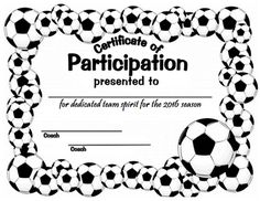 picture relating to Printable Soccer Certificates known as Suitable Shots Of Sports activities Participation Certificates Perfect