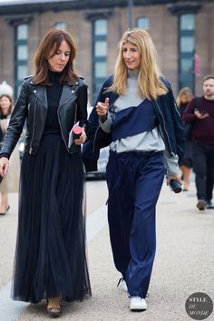 Alison Loehnis and Sarah Rutson Street Style Street Fashion Streetsnaps by STYLEDUMONDE Street Style Fashion Photography