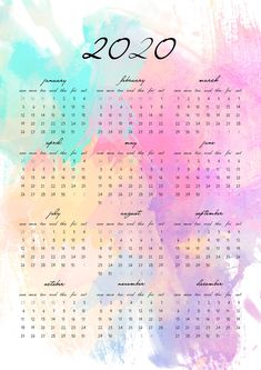Watercolor Art 2020 Calendar Give yoursef a fresh start of 2020 with this elegant, watercolor calendar. Yearly calendar overview on a single page for your wall, journal, desk or planner with 4 sizes: and US Letter. Printable Yearly Calendar, Print Calendar, Printable Planner, Calendar Templates, Blank Calendar, To Do Planner, Planner Pages, Weekly Planner, College Planner