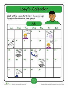 calendar challenge joey 39 s month education calendar worksheets worksheets math for kids. Black Bedroom Furniture Sets. Home Design Ideas
