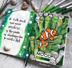 40 Ocean themed bullet journal ideas you want to sea.oops see! - Almost a mess Monthly Bullet Journal Layout, Bullet Journal Titles, Bullet Journal Tracker, Bullet Journals, Arte Sketchbook, Draw On Photos, Journal Themes, Painted Books, Journal Covers