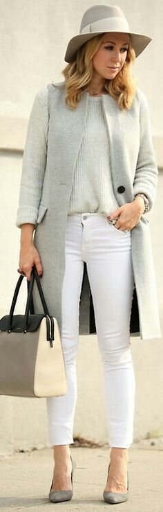 Fall  Style. Gray coat. Street elegant women fashion outfit clothing stylish apparel @roressclothes closet ideas