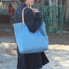 Bolsos de asa larga -  Bolso shopping bag impermeable - Azul - Maxibolso - hecho a mano por LoLahn-Handmade en DaWanda