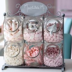 sweet jars in the kitchen. or could fill with cotton wool balls, cotton buds etc for bathroom
