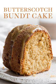 Butterscotch Bundt Cake features a homemade brown sugar sour cream cake drizzled with an easy from-scratch thick butterscotch icing! This recipe is the best fall dessert idea for a crowd! You'll love this recipe. ~ Handle the Heat Desserts For A Crowd, Fall Desserts, Bundy Cake, Baking Recipes, Dessert Recipes, Frosting Recipes, Dessert Ideas, Butterscotch Cake, Sour Cream Cake