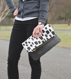 Dotted Canvas Clutch