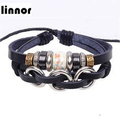 Linnor Chinese Style Ceramics Beaded Bracelet Silver Alloy Three Rings PU Leather Braclet Pulseira De Couro Feminina Bracciale