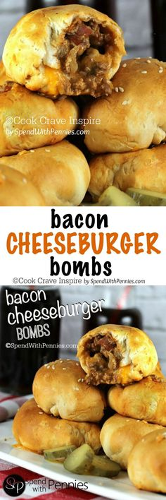 Bacon Cheeseburger Bombs! ♥ A delicious crispy crust filled with an amazing…