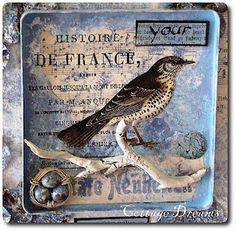 This may be an altered plastic tray or coaster. Could be done on a small canvas too. Decoupage On Canvas, Altered Canvas, Altered Tins, Altered Art, Mixed Media Collage, Collage Art, Collage Techniques, Found Art, Assemblage Art