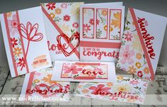 Free tutorial and video using Blooms & Wishes & Sunshine wishes from Stampin Up to create a One Sheet Wonder sheet which creates 7 cards made by Michelle Last
