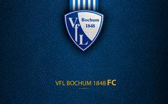 Download wallpapers VfL Bochum 1848, 4k, leather texture, German football club, logo, Bochum, Germany, Bundesliga 2, second division, football