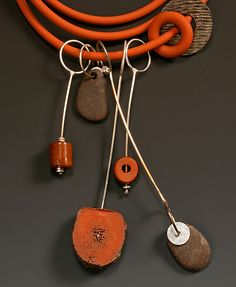 Neckpiece: No.1 in Orange Series: Caroline Viene: Silver & Stone Necklace - Artful Home