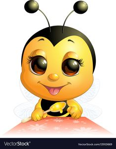 Buy Bee by on GraphicRiver. Beautiful cute bee drawn on white background Bumble Bee Cartoon, Honey Bee Cartoon, Baby Cartoon Characters, Cartoon Gifs, Colorful Drawings, Easy Drawings, Queen Bee Images, Animated Bee, Bee Pictures
