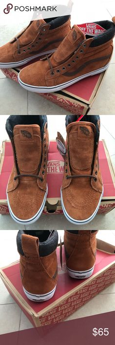 fd03d3d7fd14cc NWT Vans tan suede leather high top sneakers. 9.5 NWT and in the box.