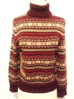 BENETTON Italy 100% Wool Fair Isle Nordic Icelandic Sweater Jumper ...