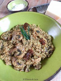 Risotto de quinoa con champiñones y tomate seco (sin gluten, sin huevo)