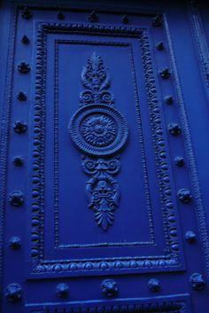 A decorated door.