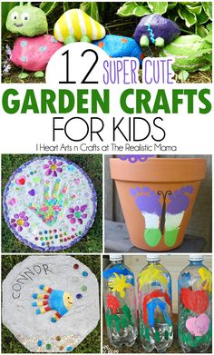 12 cute garden crafts to help get the kids involved! These include some easy art tutorials, while other ones will need some adult help for the finished project.