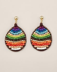 Colorful bead earrings with leather frame - nice idea!