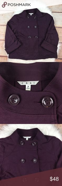 "CAbi Plum Jacket Plum/ purple jacket by CAbi. In amazing condition. Great for Fall days. Double breasted buttons in front. Buttons on both sleeves. One detail button in the back. Size Medium. Bust 40"", Length 23"", Sleeve Length 18"". 100% Cotton. CAbi Jackets & Coats"