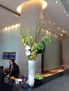 Grouped, anthuriums, gladioli, hydrangeas, cymbidium orchid and willow