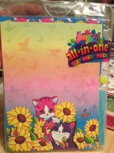 Vtg Lisa Frank All in One Stationery Pack Purrfect Friends Cats Butterfly Flower