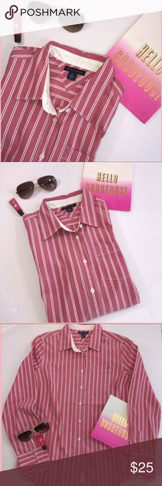 "Hilfiger!! NWOT Tommy Hilfiger button up/down pink/white chic top!. So sweet in summer with those shorts and wedges, just that ""Hamptons"" vibe effortlessly!. I love Tommy hope you do as well.100%cotton Tommy Hilfiger Tops"