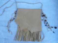 Genuine Deerskin Leather Fringed messenger/purse by LandofBridget, $25.00