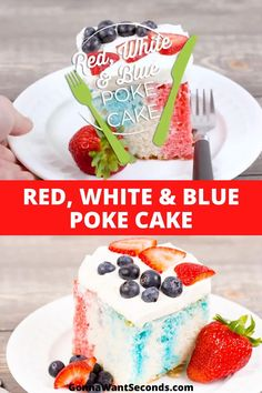 *NEW* Bring on the fireworks and sparklers — it's Red White and Blue Poke Cake time! This cake is everything you need to celebrate the Fourth of July in style. #PokeCake #SheetCake #Cake #FourthOfJuly Fourth Of July Cakes, 4th Of July Desserts, Fourth Of July Food, Summer Desserts, Summer Recipes, Holiday Recipes, Poke Cake Recipes, Frosting Recipes, Dessert Recipes