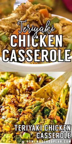 Teriyaki Chicken Casserole! Have your favorite Chinese takeout prepared in a different way: baked in a casserole dish with assorted veggies and fried rice. Perfect for leftovers! | HomemadeHooplah.com