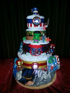 5-tier superheroes diaper cake