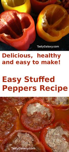 Healthy, delicious, easy to make stuffed peppers recipe. It doesn't take long to make these delicious stuffed peppers.