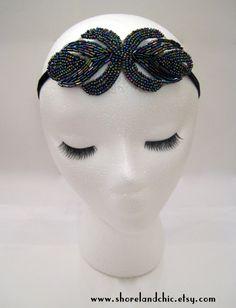 Multicolor art deco Gatsby headband 1920s by ShorelandChic on Etsy, $22.00